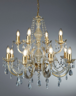 Versailles Gold Large 19 Light Chandelier Trimmed With